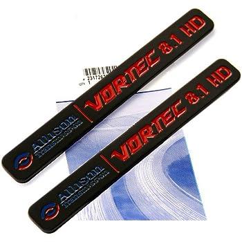 2 Pack Chrome Black Allison Transmission 8.1 Hd 8.1L Vortec Emblem Sticke decals Badges Replacement for 2500Hd 3500Hd Gmc Silverado Sierra Truck