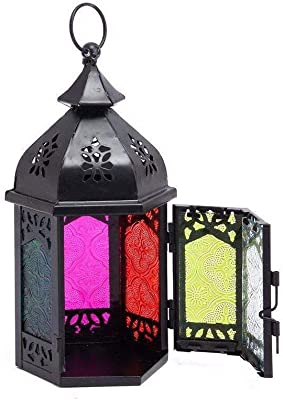 10.2 Inch Portable Moroccan Wrought Iron Stained Glass Decorative Lantern Candle Holder Hanging Lamp Wind Lantern for Home Decor Black Lewondr Retro Iron Candle Lantern Colorful Small