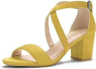 Allegra K Women's Crisscross Ankle Strap Block Heel Sandals