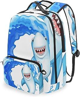 Mochila con bolsa cruzada desmontable, diseño de tiburones, para viajes, senderismo, acampada