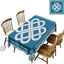Rectangular tablecloths in a variety of colors and sizes Can be used for parties Celtic Love Knot Good Fortune Symbol Framework Border Historical Amulet Design W54 x L108 Inch Dark Aqua White