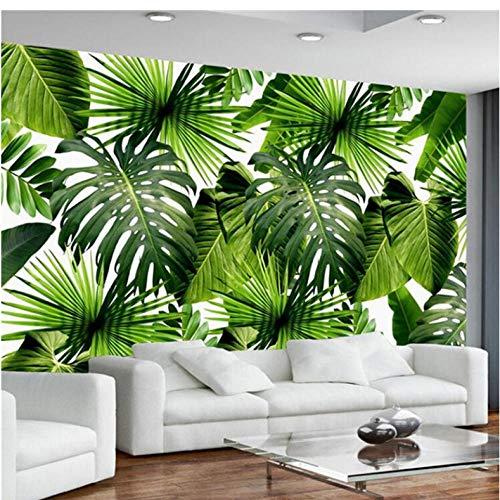 Wuyii eigen 3D fotobehang Zuidoost-Azië Tropisch regenbos banaanblad foto achtergrond fotobehang vliesposter modern 400 x 280 cm.