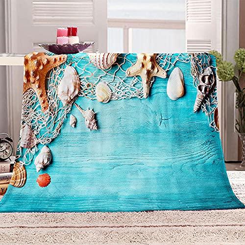 Coperta in Pile Ultra Morbida con Stampa Stella marina rete da pesca conchiglia tavola di legno blu 3D Sherpa Coperta in Peluche di Flanella per bambini Adulti Coperta per letto 150x200cm