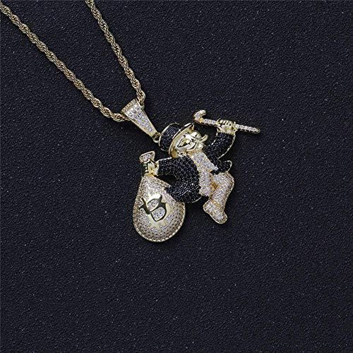 Payaso Hip Hop con Money Bolso Colgantes latón Cartoon carácter Collar Helado Zircon cúbico joyería de Rapero 60cm