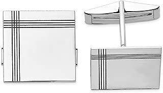 Solid 14K White Gold Square Line Design Cuff Links