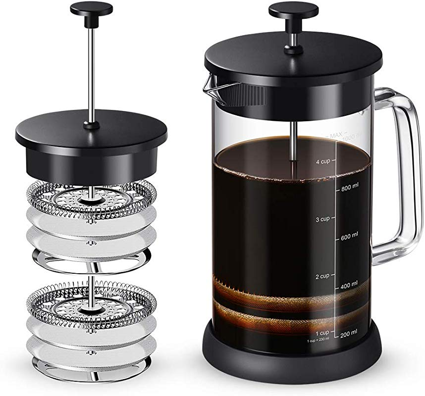 Soulhand French Press Coffee Maker Heat Resistant Glass Tea Maker With 4 Filter Screens Easy To Clean For Home Office Camping