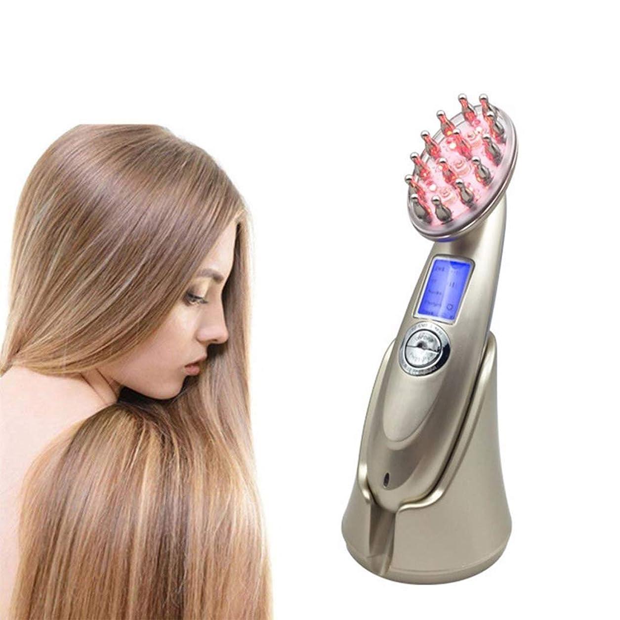 肉のランチ十代の若者たち脱毛治療装置、レーザー+ LED光療法脱毛ブラシ、ヘッドマッサージコーム、毛成長マッサージ、男性または女性用の抗脱毛コーム