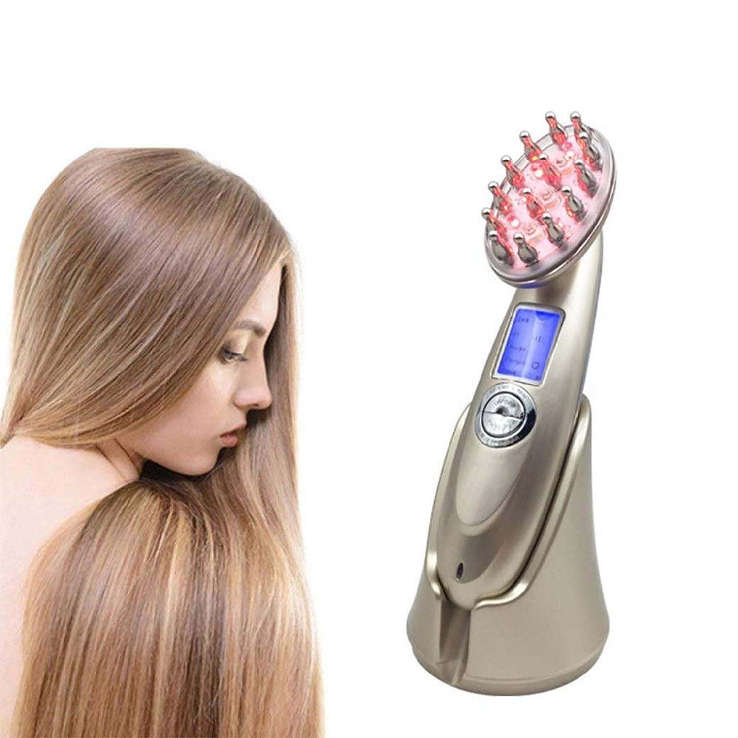 ケント五すばらしいです脱毛治療装置、レーザー+ LED光療法脱毛ブラシ、ヘッドマッサージコーム、毛成長マッサージ、男性または女性用の抗脱毛コーム