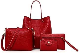 Women Bags, 4Pcs Women Fashion Pattern Leather Handbag+Crossbody Bag+Messenger Bag+Card Package