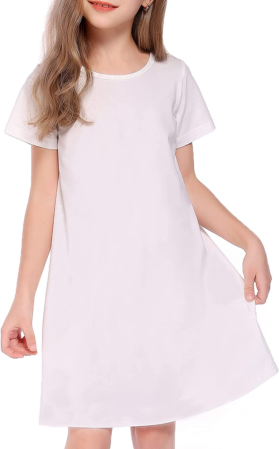 Boyoo Girls Cotton Dress Short Gorgeous Sleeve Pure Colo Crew Neck Max 87% OFF A Line