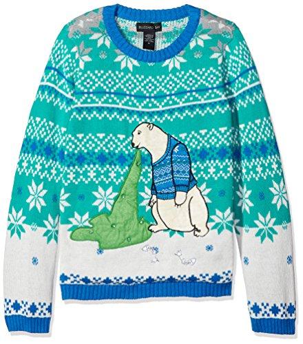 Blizzard Bay Big Boys Ugly Chrismas Sweater Animals, blue/cream/green/polar bear, 14-16 L