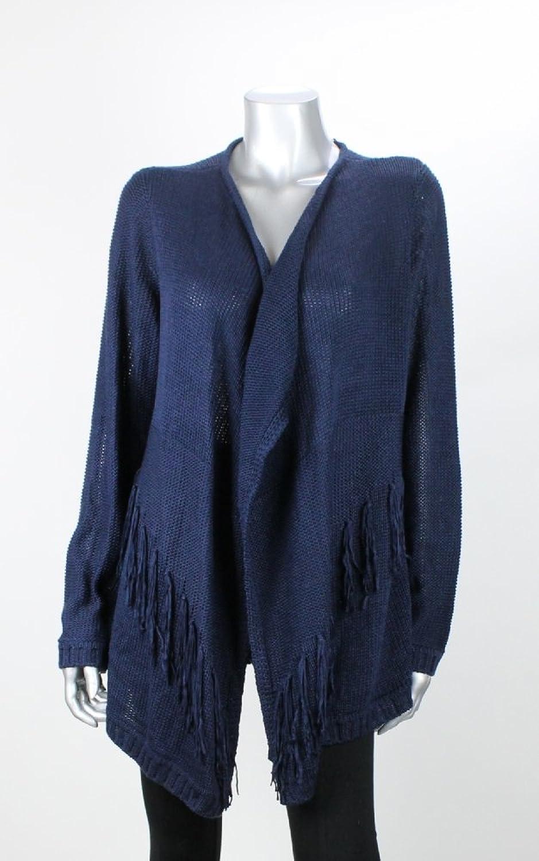 INC Navy Fringe Hem Open Knit Women's Cardigan Sweater