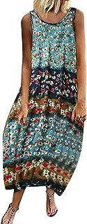 ?de las Mujeres del Verano del algodón de Lino Retro de Manga Corta del Cuello de O-Bordado del Vestido Ocasional Imprimir