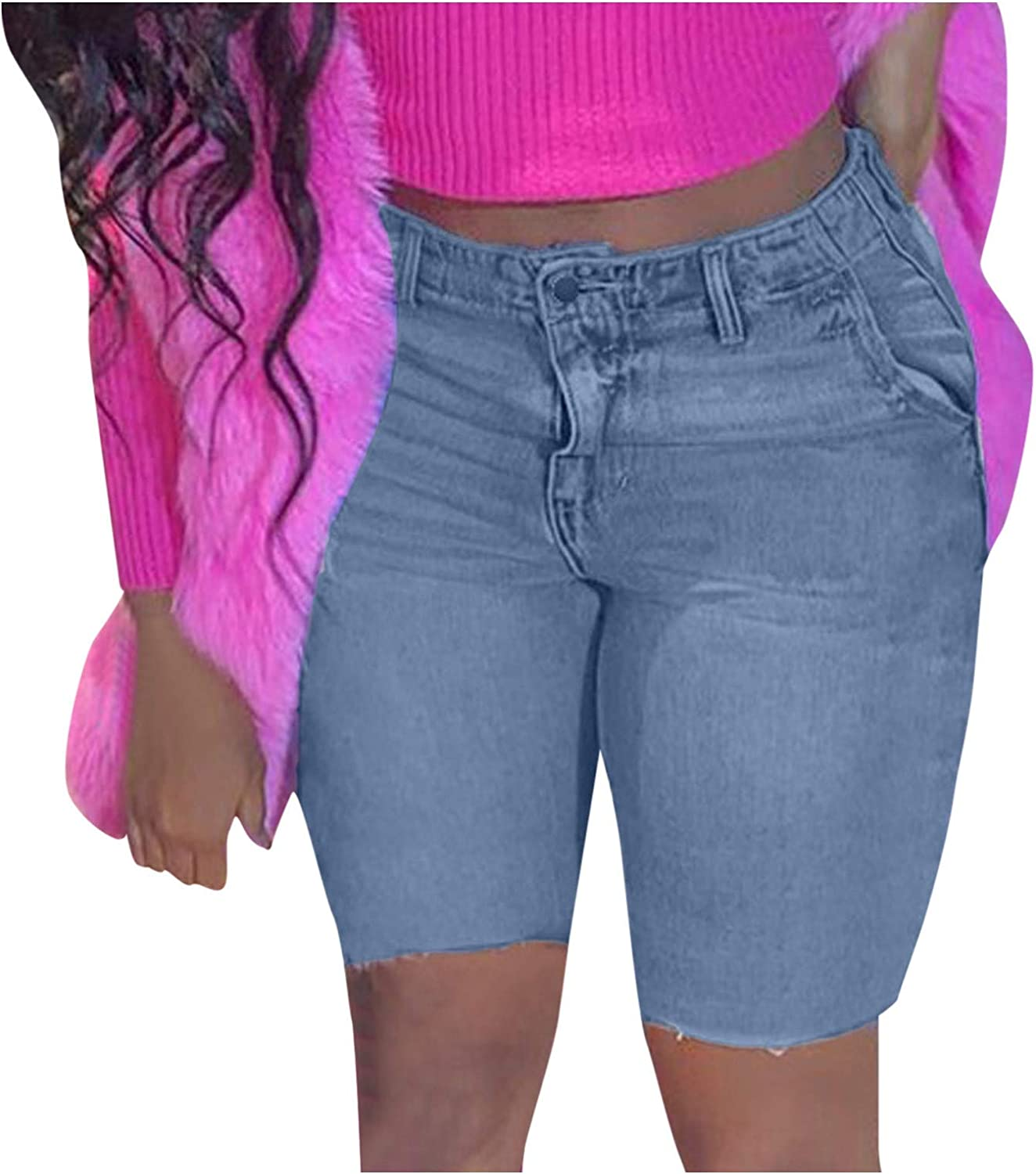Bermuda Jean Shorts for Women Stretchy High Waisted Plus Size Casual Summer Denim Shorts