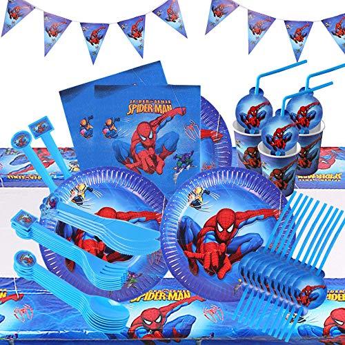 HASAKA Juego de vajilla de fiesta superhéroe decoraciones de cumpleaños Platos tazas pajitas servilleta cucharada tenedor cuchillo banner mantel Spiderman suministros de fiesta para niños 82 piezas