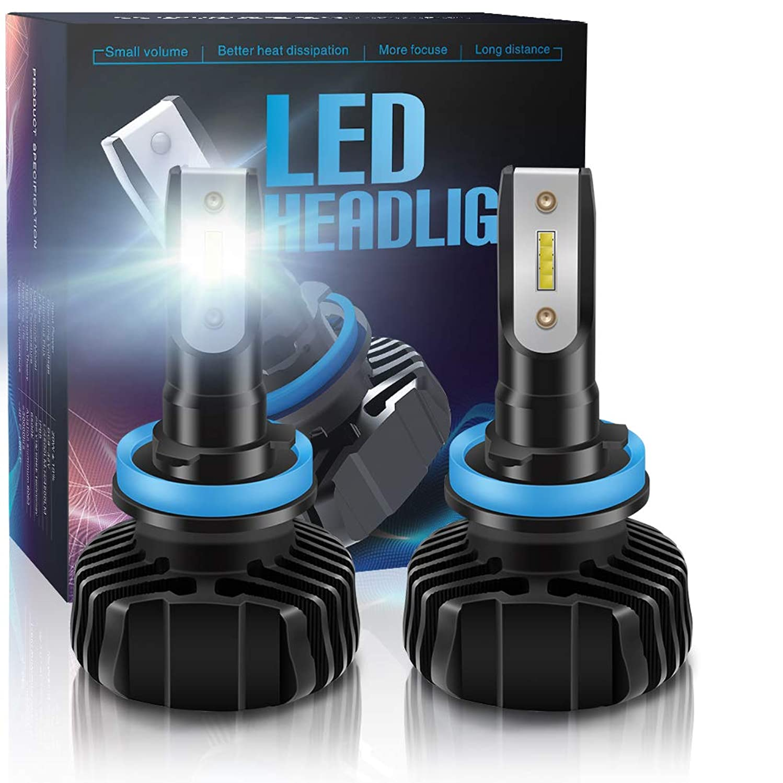 LncBoc H11 LED Headlight Kit Bulb H8 H9 9000LM(4500LMx2) 6500K White Extremely Bright White CSP Chips Conversion Kit 9-32V one year warranty H11 S1P