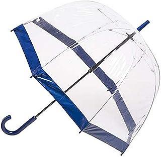 Clifton Umbrellas Navy Trim Clear PVC Birdcage windproof Umbrella, Navy Blue