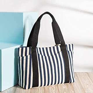Bags Canvas Tote Bag Striped Shoulder Handle Bag for Women Handbag with Outer Pocket Girls Purses Shoulder Tote Bag (Color : Blue)