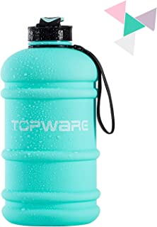 topware Dishwasher Safe New Material Tritan Plastic Hot Cold Water Jug Container Big Capacity 1 Gallon&2.2L&1.3L Large Leakproof BPA Free Water Bottle for Fitness Camping Bicycle Gym