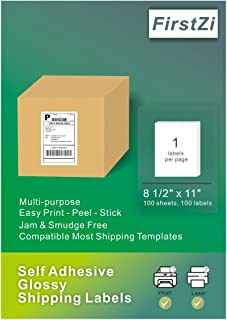 FirstZi 100 Full Sheet High Glossy Shipping Labels, 8.5x11 Inches Self Adhesive Photo Paper for Laser and Inkjet Printers, Yellow Release Paper, Easy to Find Front and Back Side, 100 Stickers 1 Box
