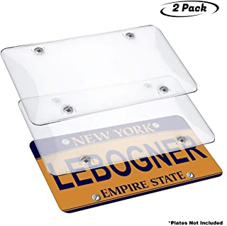 lebogner Car License Plates Shields 2 Pack Clear Bubble Design Novelty Plate Covers to Fit Any Standard US Plates, Unbreakable Frame Covers to Protect Front, Back License Plates, Screws Included