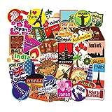 SUNYU Mapa de Viaje Country Famous Logo PVC Pegatinas Impermeables Niños Juguetes Decoración Maleta Bicicleta Coche Guitarra Skateboard 100 Unids/Set