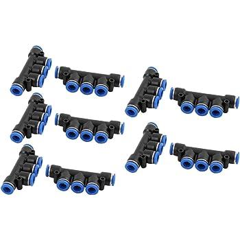 sourcingmap 10uds 12mm Dia Conexi/ón R/ápida Conector de Empuje Impulso Neum/ática de 4 Salidas de Manguera de Aire Negro
