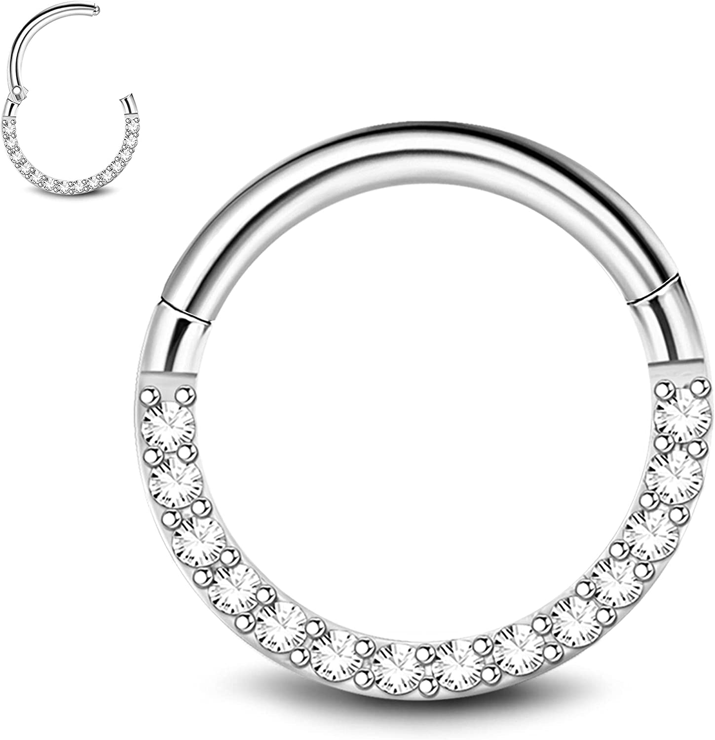 MILACOLATO CZ/Opal Hinged Nose Rings Hoop 316L Surgical Steel 16G 18G 6MM 8MM 10MM Body Pierecing Ring for Cartilage Helix Rook Daith Tragus Septum Clicker Ring Nose Piercing Jewelry