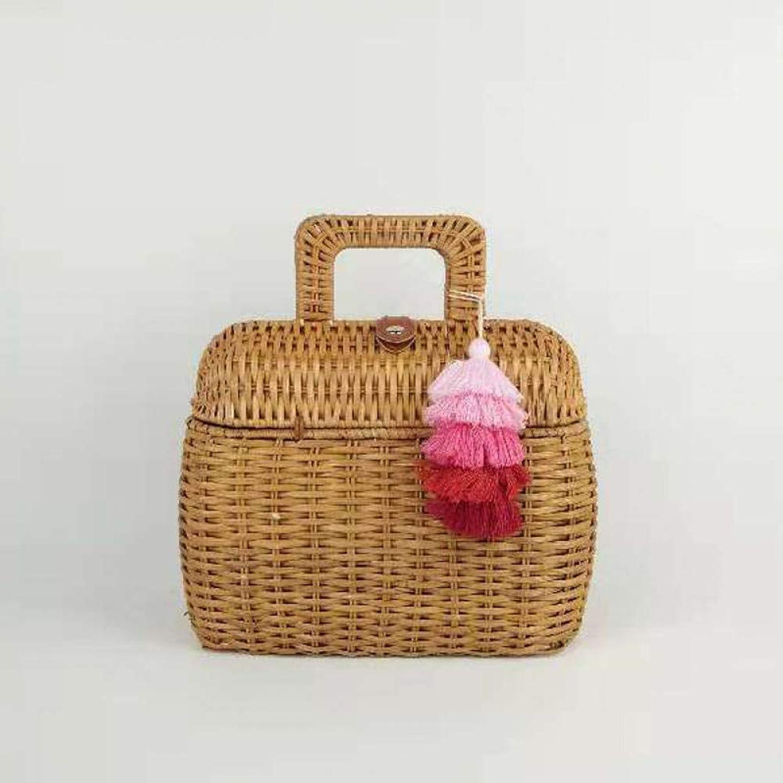LHKFNU Handmade Woven Rattan Bag Women Straw Bag Bamboo Circular Beach Bags Bali Bohemian Knitting Shoulder Bags Embroidery