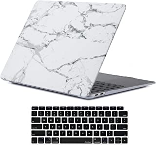 ProCase MacBook Air 13 Inch Case 2018 Release Hard Case, Rubber Coated Hard Shell Case for MacBook Air 13-inch Model A1932 with Keyboard Skin Cover –Whitemarble