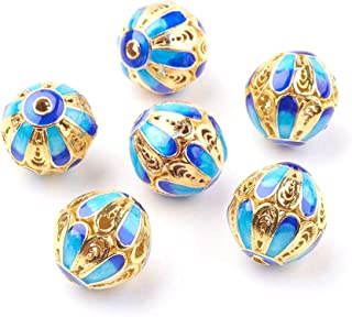 Cloisonne Bead Flower Receptacle Bead Accessory Flower Cap DIY Beads Enamel Filler piece Gold Plating Bead Charm Asian Style bracelets Bead