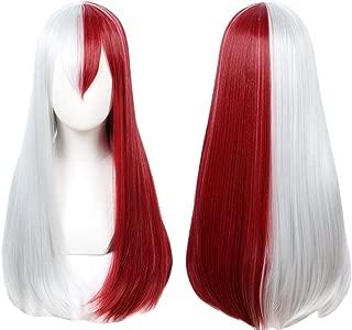 QACCF Long Straight Half Dark Red and Half Grey White Women Cosplay Wig