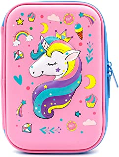 Unicorn Gifts for Girls Pencil Case EVA Pen Pouch Stationery Box Anti-Shock for School Students Girls Teens Kids Students Stationery Pouch Zipper Bag for Colored Pencils, Gel Pens (Unicorn1 Pink)