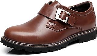 Jamron Hommes Cuir Véritable Épais Semelle Antidérapante Bracelet Monk Chaussures en Cuir