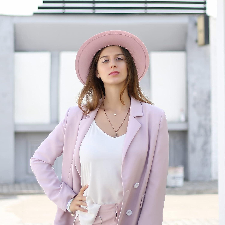 EOZY Women Belt Buckle Fedora Hat Wide Brim Felt Fedora Jazz Hat Trendy Panama Fedora Hats with Band