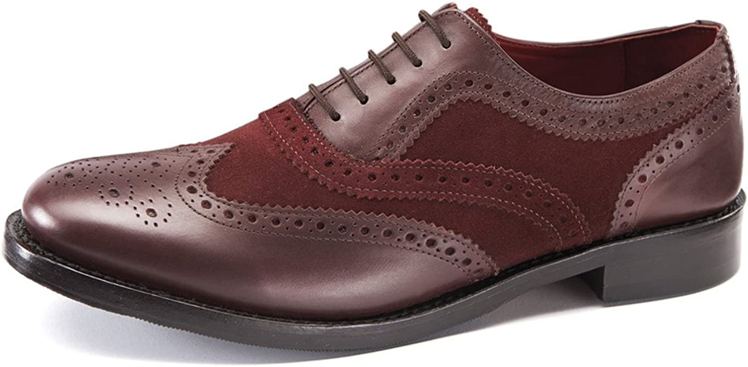 Samuel Windsor Men's Handmade Goodyear Welted Burgundy Split Brogue Italian Leather and Suede shoes