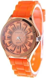 RONSHIN Fashion Pretty Jelly Wrist Watch Men Women Cool Silicone Quartz Sports Watch Orange