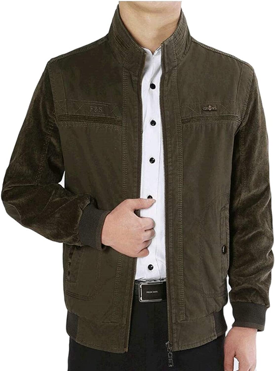 Xswsy XG-CA Men's Stand Collar Corduroy Lightweight Zip Reversible Slim Fit Jackets