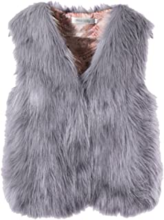Women's Cute Winter Faux Fur Waistcoat Short Vest Sleeveless Warm Coat(Runs Small)