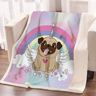 ARIGHTEX Unicorn Pug Sherpa Throw Blanket Rainbow Stars Puppy Dog Print Blanket Fleece Reversible Blanket for Bed and Couch Kids Pug Gifts (50 x 60 Inches)
