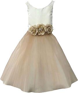 19f9e96b67e Petite Adele Little Girls Champagne Silk Satin Tulle Flower Girl Dress 2-6