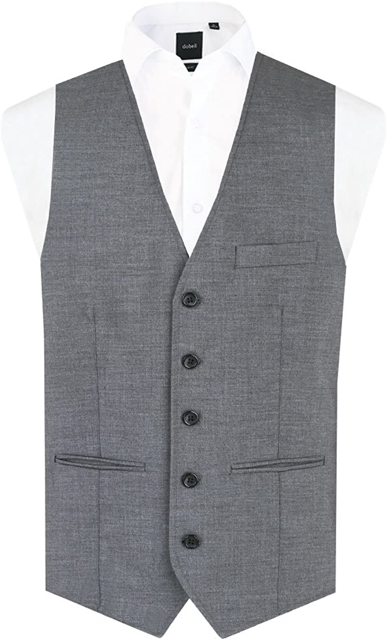 Dobell Mens Grey Sharkskin Vest Regular Fit 5 Button Suit Waistcoat