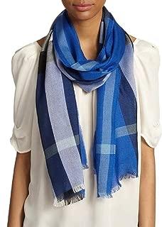 Half Mega Check Silk and Cashmere Scarf in Cobalt Blue