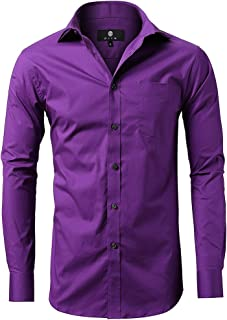 INFLATION Men's Dress Shirts Slim Fit Long Sleeves of Various Styles Casual Button Down Shirts