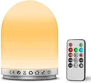 BMK ナイトライト ベッドサイドランプ 調光 RGB調色 USB充電式 LEDライト SOSモード防災 常夜灯 リモコン式 タイマー機能 雰囲気作り 子ども かわいい キャンプ授乳ランプ 間接照明
