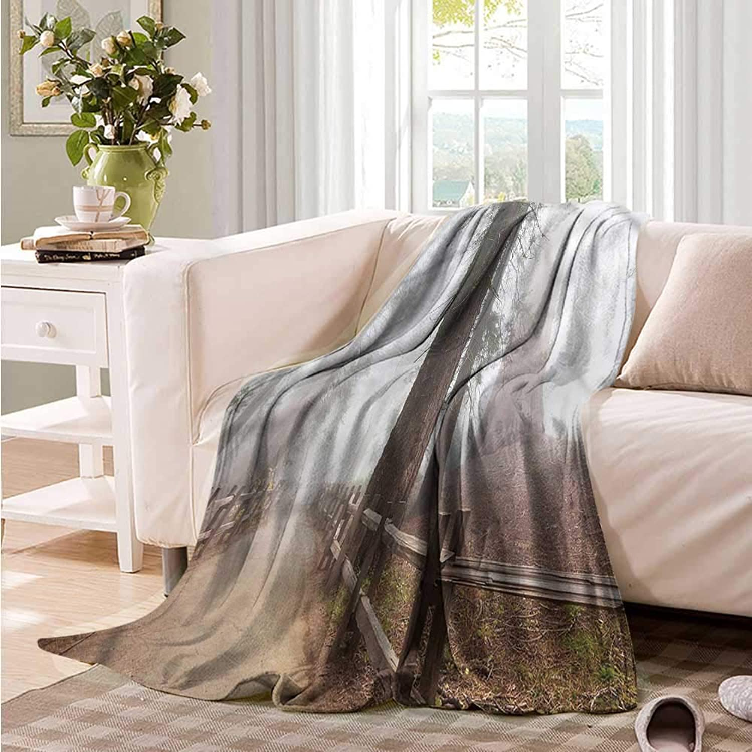 Beds Blanket Yosemite Forest in Foggy Morning Camping Throw,Office wrap 60  W x 51  L