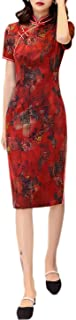 Abiti Qipao Seta Stampati Slim Red Dress Fashion Floral Cheongsams Daily Party 3275