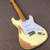 YYYSHOPP Guitars & Gear Guitarra eléctrica, cuello de arce con pintura amarilla, cuerdas de acero acústicas, guitarras clásicas (color: guitarra, tamaño: 41 pulgadas)