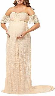 IBTOM CASTLE Schwangerschaftskleid Umstandskleid Damen Frauen Schulterfreies Mutterschaft Spitzenkleid Blumenspitze Hülsen Schwangere Elegante Fotografie Schwangerschafts Krankenpflege Reizvoller Mama Maxi Kleid