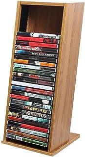 CD Rack de Almacenamiento en Rack salón Estante Grande Capacidad de Disco librero caída Estante de la Esquina Simple Invisible,Brown